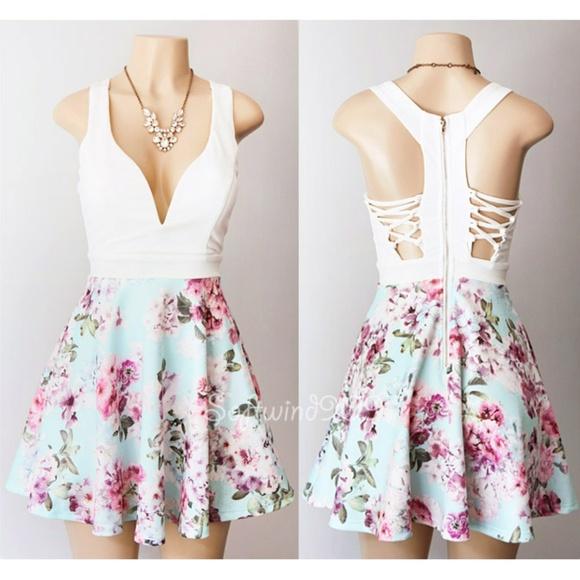 9fec92c22eb a gaci Dresses   Skirts - Ivory Light Blue Floral Plunge Lace Up CUTE Dress